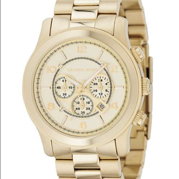 Michael Kors Accessories - Michael Kors Gold Runway Watch MK-8077